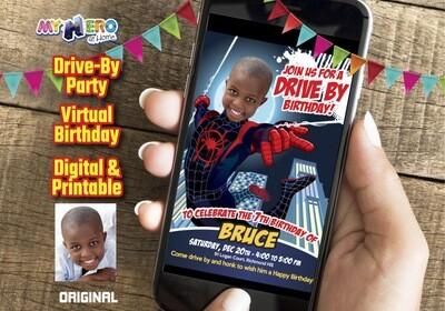Spider-Verse Drive By Birthday, Spider-Verse Digital Invitation, Spider-Verse Virtual Birthday, Spider-Verse Birthday Parade. 399DB