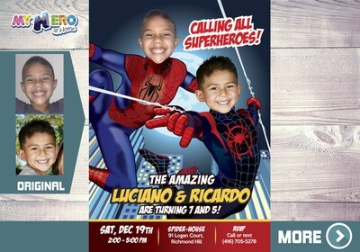 Spider-Man Siblings Birthday Invitation, Peter Parker and Miles Morales Birthday, Spiderman Siblings Birthday, Joint SpiderVerse Party. 402