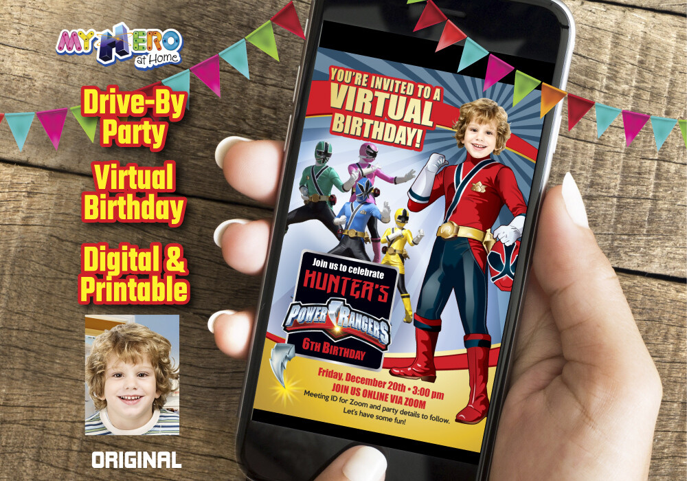 Power Rangers Virtual Birthday Invitation, Red Power Ranger Digital Invitation, Red Power Ranger Drive By, Power Rangers theme party. 001CV
