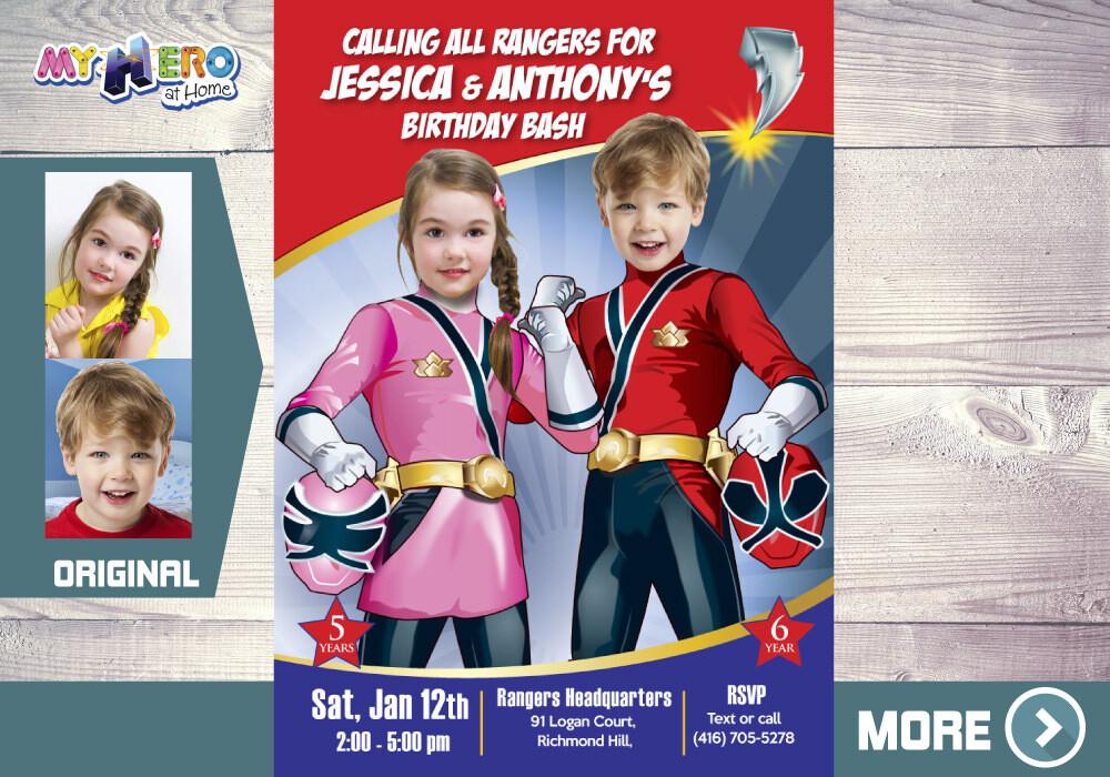 Joint Power Rangers Birthday Invitation, Siblings Power Ranger Party, Power Rangers girl and boy party, Rangers Virtual, Rangers Digital Invitation. 519