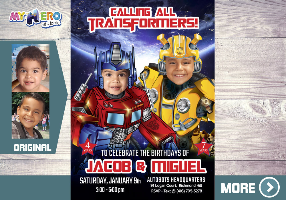 Joint Transformers Birthday Invitation, Transformers Siblings Party, Optimus Prime and Bumblebee Theme Party. 524