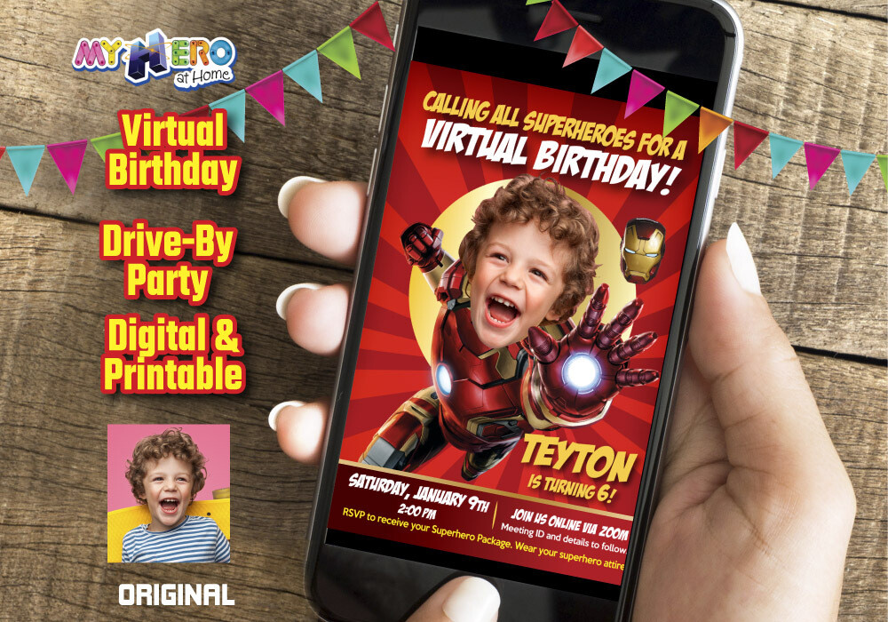 Iron man Virtual Birthday Invitation, Iron man Digital Invitation, Iron man Virtual Party, Iron Man drive By. 098CV