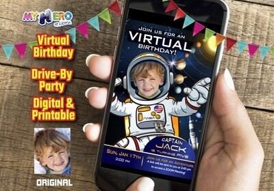 Astronaut Virtual Birthday Invitation, Astronaut Digital Invitation, Astronaut Virtual Party, Astronaut Drive By Birthday. 235CV