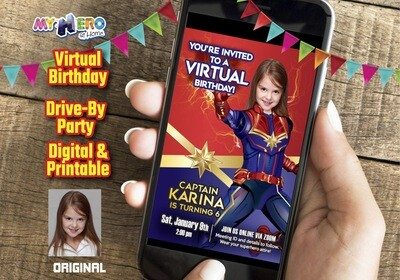 Captain Marvel Virtual Birthday, Captain Marvel Digital Invitation, Girls Avengers Virtual, Captain Marvel Drive By. 288CV