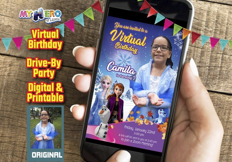 Frozen Virtual Party Invitation, Frozen Virtual Birthday, Frozen Zoom Party, Frozen Drive By Party, Frozen Birthday Parade. 409CV