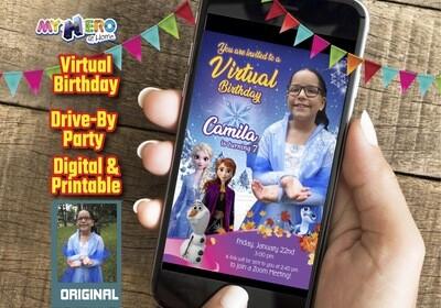 Frozen Virtual Party Invitation, Frozen Virtual Birthday, Frozen Zoom Party, Frozen Drive By Party, Frozen Birthday Parade. 409CV