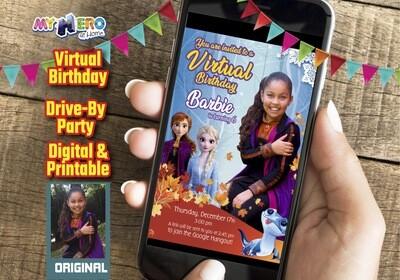 Frozen 2 Digital Birthday Invitation, Frozen Virtual Party, Frozen Elsa Invitation, Frozen Social Distance, Frozen Drive By. 405CV
