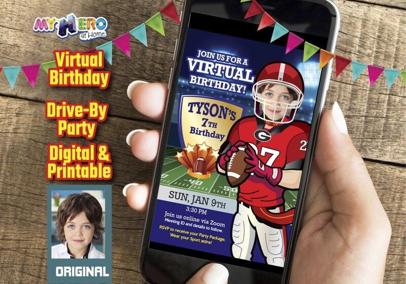 Football Digital Birthday Invitation, American Football Virtual Birthday, Football Drive By Party, Football Birthday Parade, 421CV