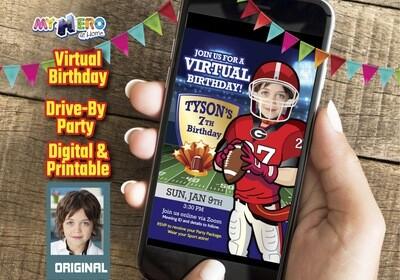 Football Digital Birthday Invitation, American Football Virtual Birthday, Football Drive By Party, Football Birthday Parade, 421CV