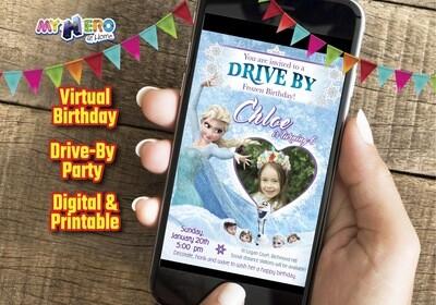 Frozen Drive By Birthday Invitation, Frozen First Birthday, Frozen Virtual Party, Frozen Zoom, Frozen Online Party, Virtual Frozen. 272CV
