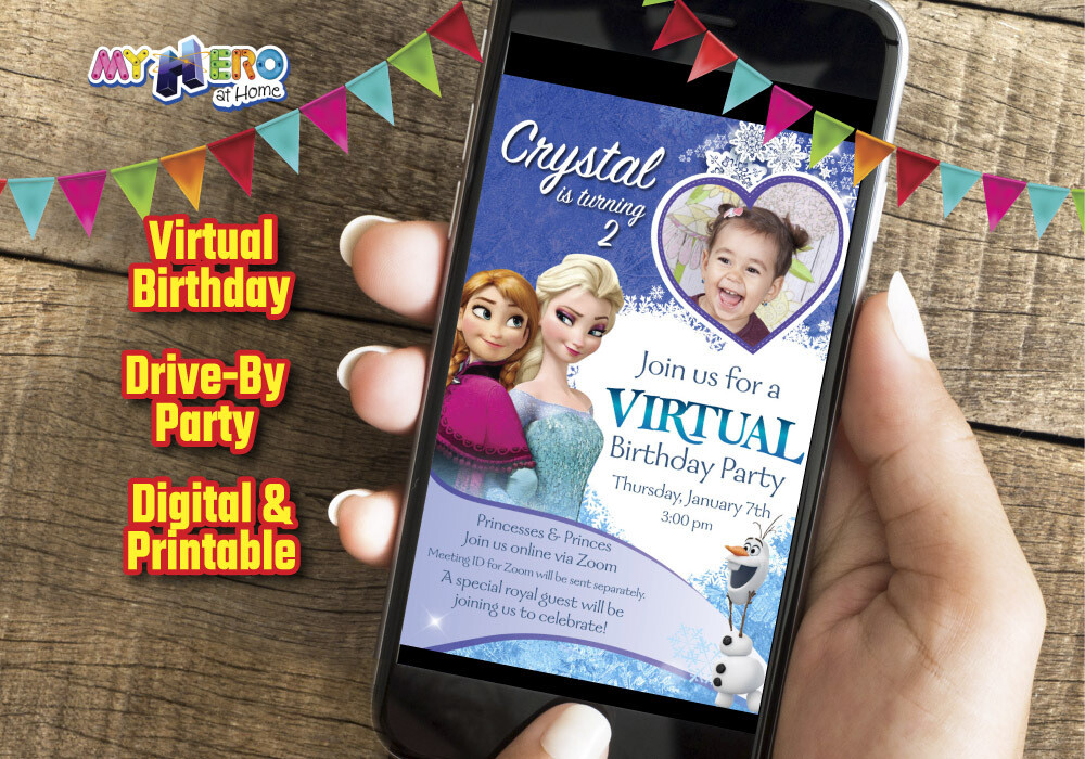 Frozen Virtual Birthday Invitation, Frozen Online Party, Frozen Digital Invitation, Frozen Drive By, Frozen Birthday Parade. 275CV