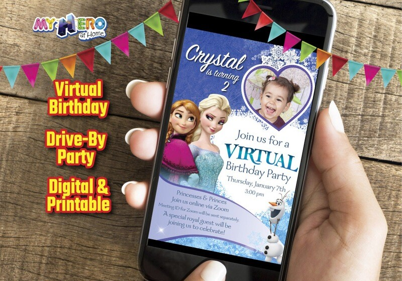 Frozen Virtual Birthday Invitation, Frozen Online Party, Frozen Digital Invitation, Frozen Drive By, Frozen Birthday Parade. 275CV