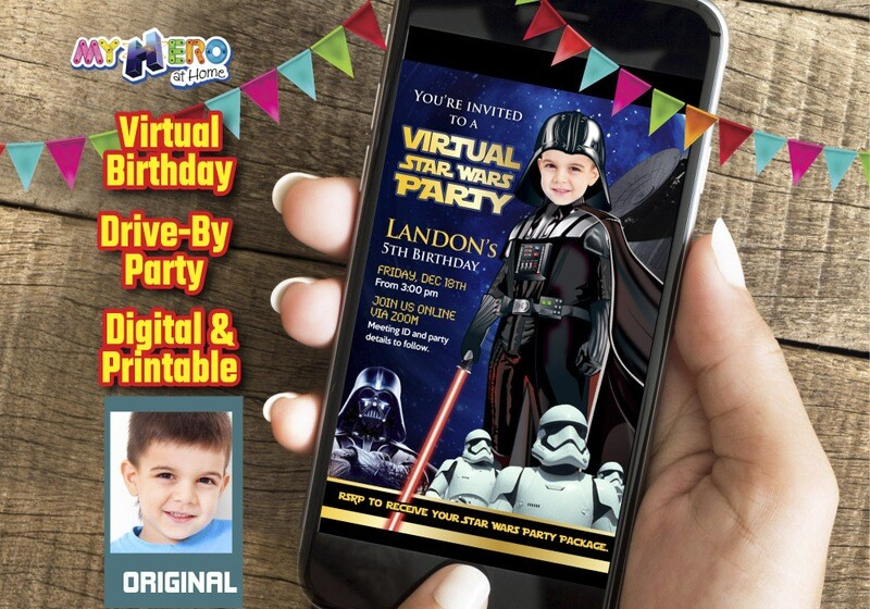 Darth Vader Virtual Birthday Invitation, Darth Vader Virtual Party Invitation, Darth Vader Drive By, Virtual Dark Side Party. 009CV