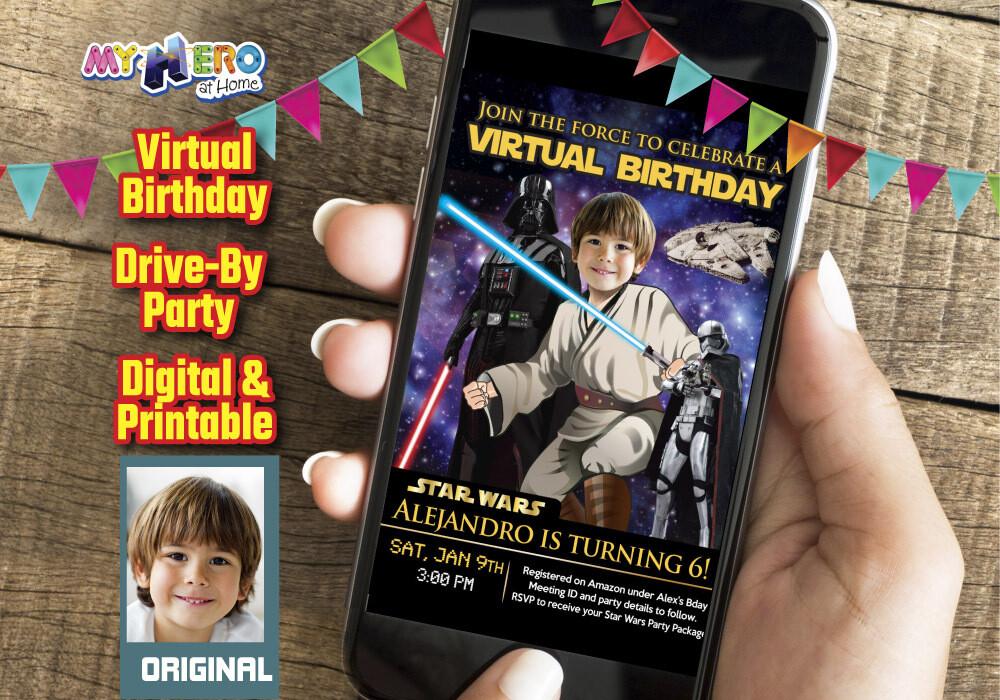 Star Wars Digital Invitation, Jedi Virtual Party, Star Wars Virtual Birthday, Star Wars Birthday Parade, Star Wars Drive By party. 214CV