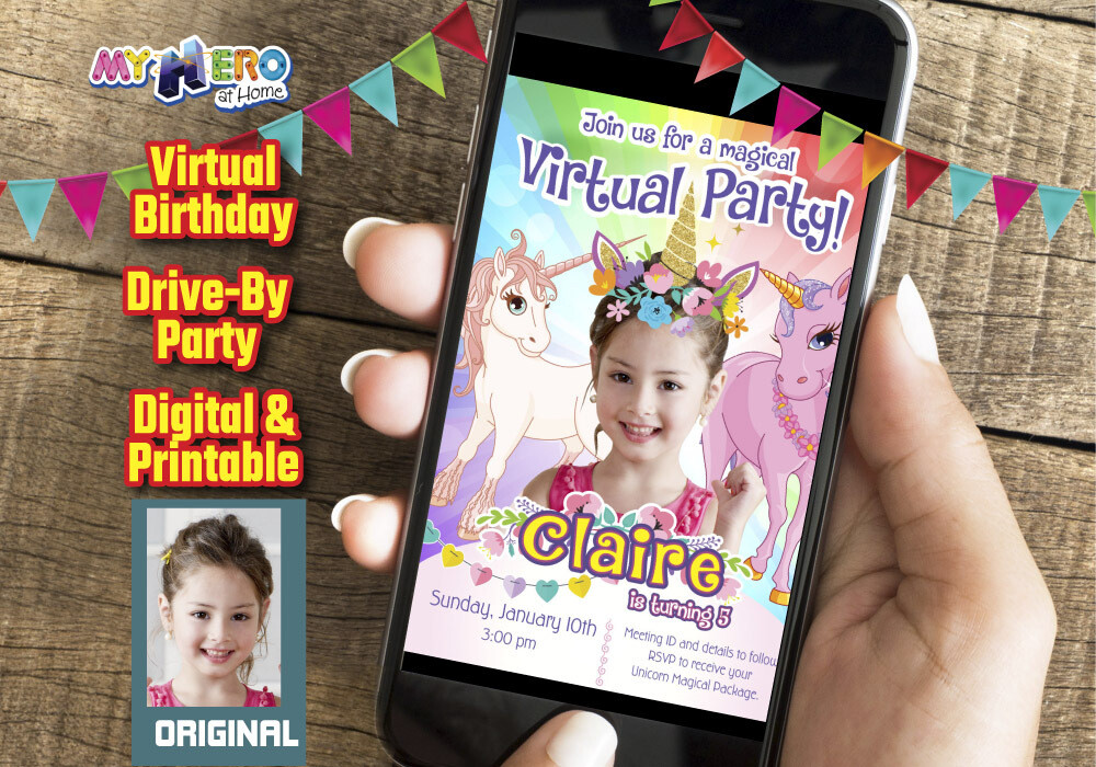 Unicorns Virtual Birthday Invitation, Unicorns Photo Invitation, Unicorns Virtual Party, Unicorns Digital, Unicorns Drive By party. 286CV