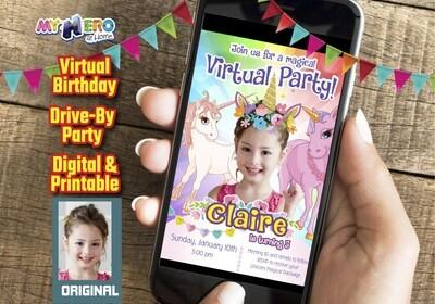 Unicorns Virtual Birthday Invitation, Unicorns Photo Invitation, Unicorns Virtual Party, Unicorns Digital, Unicorns Drive By party. 286CV