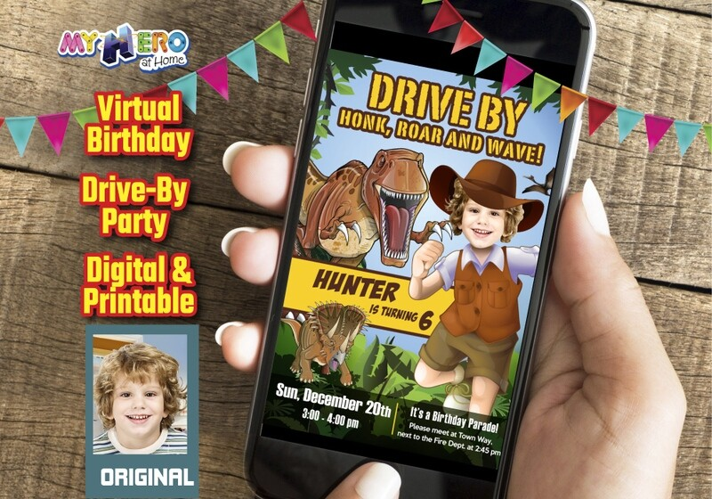 Dinosaurs Drive By Birthday, Dinosaurs Drive-By Party Invitation, Dinosaurs Birthday Parade, Dinosaurs Driveway Party. 208DB