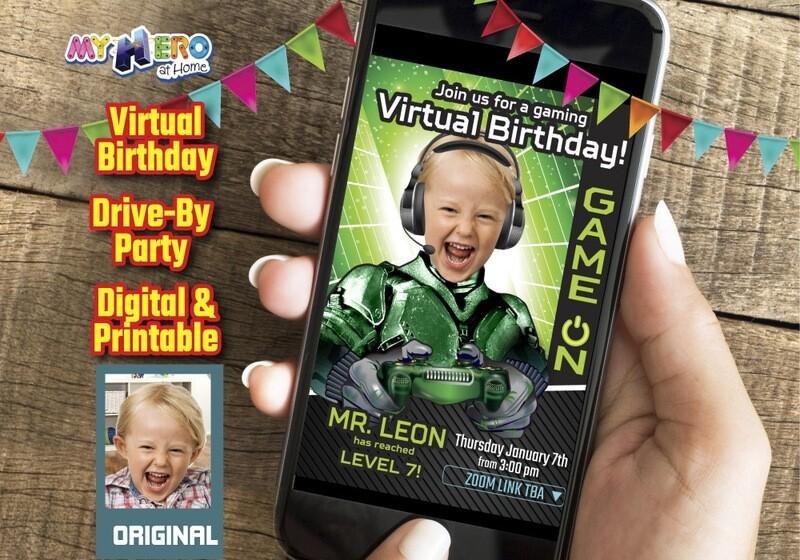Video Gamer Virtual Birthday Invitation, Gamer Birthday Invitation, Game On Party, Calling all Gamers Party, Video Games Party. 432CV