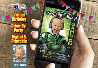 Video Gamer Virtual Birthday Invitation, Gamer Birthday Invitation, Game On Party, Calling all Gamers Party, Video Games Party. 432CV