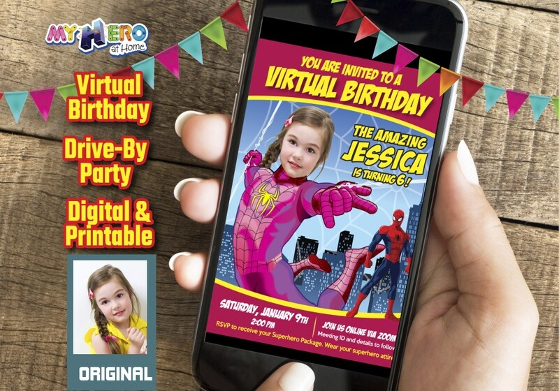 Spider-Woman Digital Birthday Invitation, Pink Spider-Woman Birthday, Spider-Girl party, Spider-Woman Drive By, Spider-Woman Virtual. 391CV