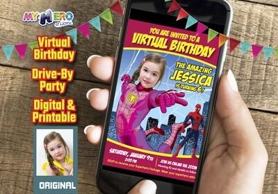 Spider-Woman Digital Birthday Invitation, Pink Spider-Woman Birthday, Spider-Girl party, Spider-Woman Drive By, Spider-Woman Virtual. 391CV
