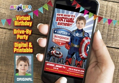 Captain America Virtual Invitation, Captain America Drive By Party, Captain America Virtual Party, Captain America Birthday Parade. 075CV