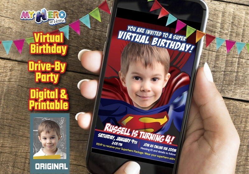 Superman Virtual Birthday Invitation, Superman Virtual Party, Superman Social Distance, Superman Drive By, Superman Party Parade. 125CV
