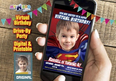 Superman Virtual Birthday Invitation, Superman Virtual Party, Superman Social Distance, Superman Drive By, Superman Party Parade. 125CV