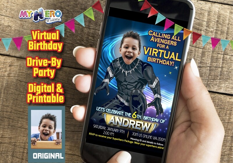 Black Panther Digital Invitation, Black Panther Virtual Birthday, Long Live the King, Wakanda Forever, Black Panther Drive By. 161CV