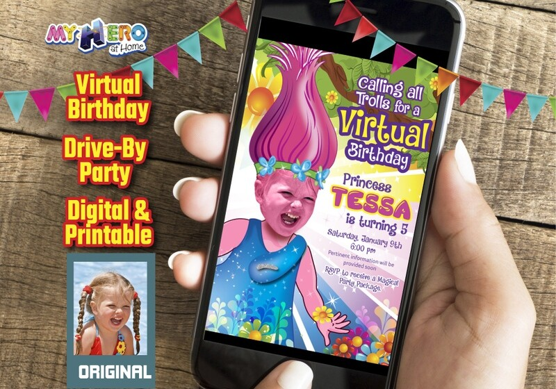 Trolls Virtual Birthday Invitation, Trolls Online party, Trolls Drive By Party, Princess Poppy Virtual Party. 201CV