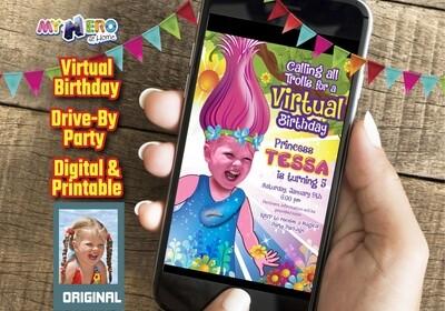 Trolls Virtual Birthday Invitation, Trolls Online party, Trolls Drive By Party, Princess Poppy Virtual Party. 201CV
