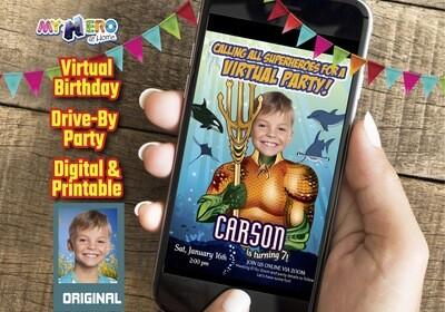 Aquaman Virtual Birthday Invitation, Aquaman Virtual Party, Aquaman Social Distance Party, Aquaman Online Party, Aquaman Drive By. 189CV