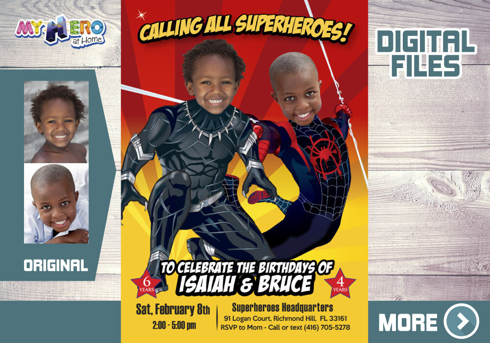 Black Panther and Miles Morales Birthday Invitation, Spider-Verse and Black Panther Party theme party, Joint Miles Morales Black Panther 522