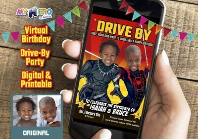 Miles Morales Black Panther Drive By Birthday, Spider-Verse Black Panther Digital Invitation, Joint Spider-Verse Black Panther Virtual 522DB