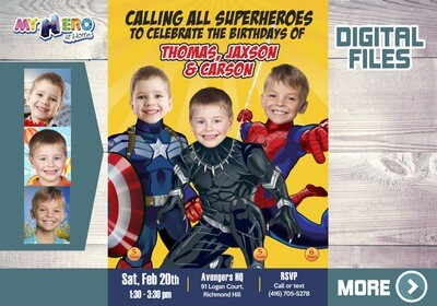 Triplets Birthday Invitation, Superheroes Triplets Party, Triplets Avengers Party, Captain America, Black Panther and Spider-Man Party. 523