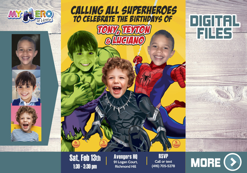 3 Siblings Birthday Invitation, Superheroes Triplets Party, Triplets Avengers Birthday,  Hulk, Black Panther and Spider-Man Party. 523B