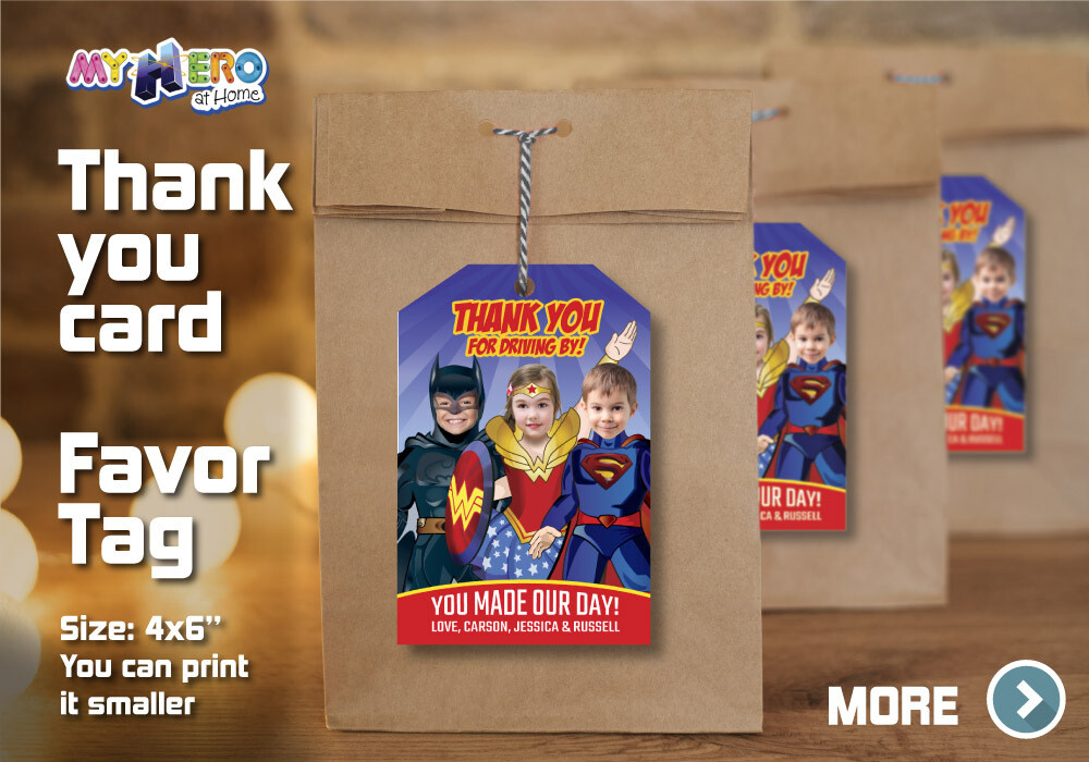 3 Siblings Thank You for Driving By, 3 Siblings Thank You Card, Triplets Favor Tag, Triplets superheroes Thank You, 3 siblings favor. 528TY