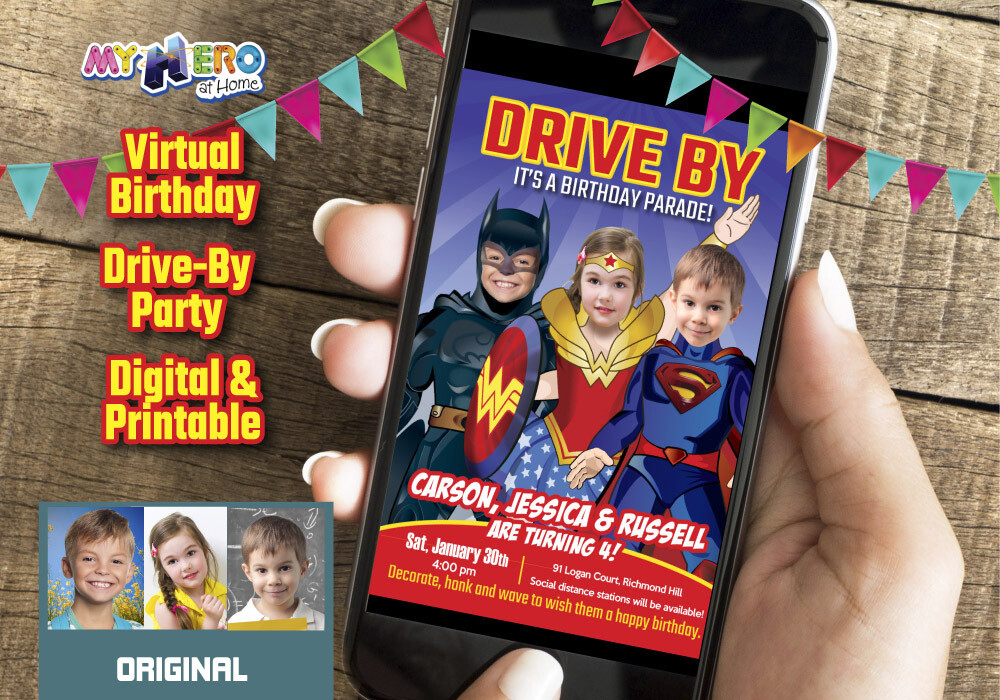 3 Siblings Drive By Birthday Invitation, Triplets Drive By Birthday, 3 Siblings Virtual Birthday, 3 Superheroes Birthday Invitation. 528DB