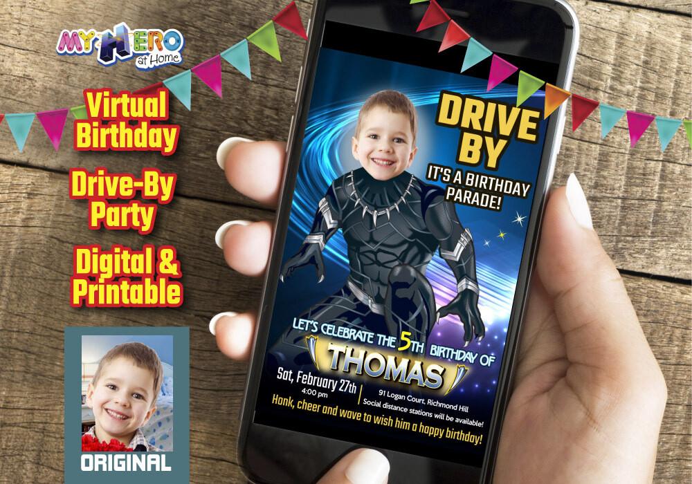 Black Panther Drive By Birthday Invitation, Black Panther Virtual Birthday, Black Panther Birthday Parade, Wakanda Birthday Parade. 161DB