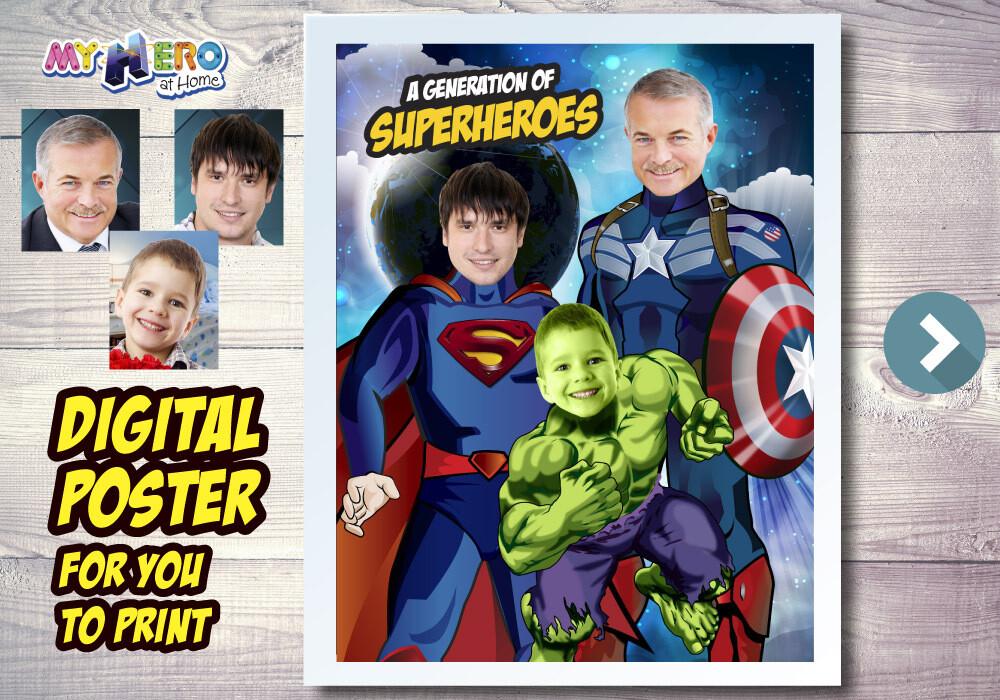 Captain America, Superman and Hulk Poster, 3 Superheroes Poster, Generation of Superheroes, 3 children poster, 3 Avengers Poster. 527