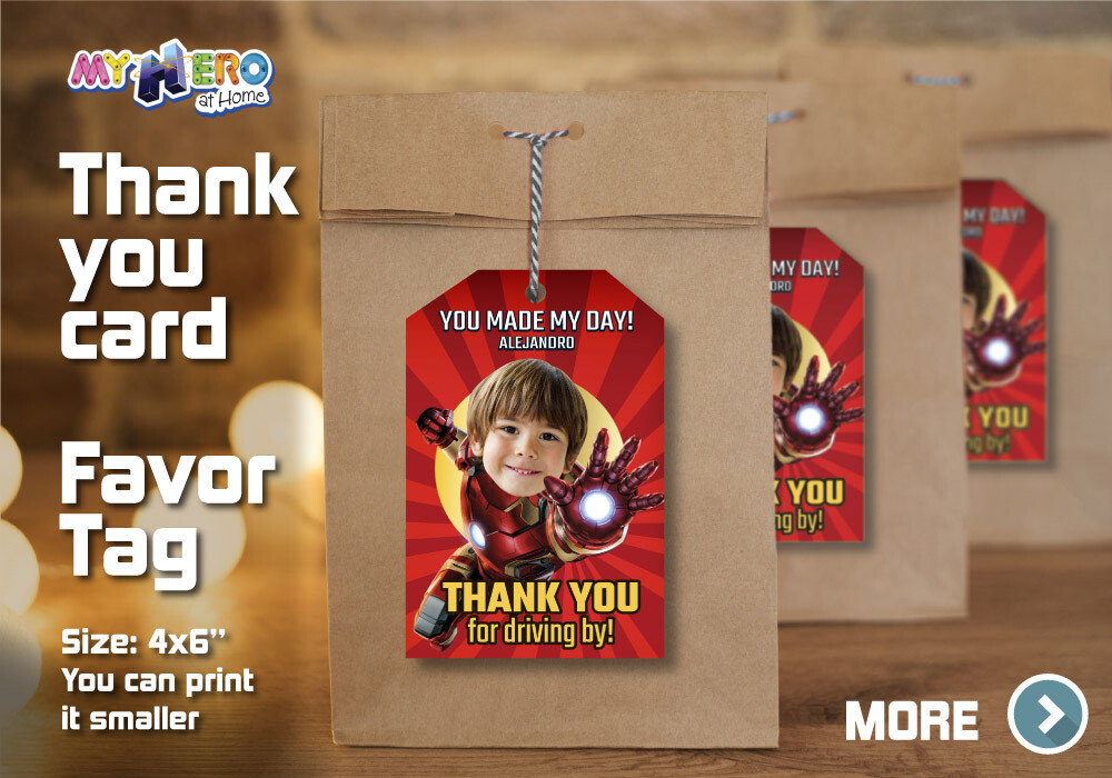 Iron Man Thank You for Driving By, Iron Man Favor Tag, Iron Man Thank You Card, Avengers Thank You for driving by. 098TY