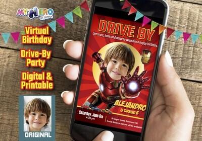 Iron Man Drive By Birthday Invitation, Iron Man Virtual Birthday, Iron Man Birthday Parade, Iron Man Digital Invitation. 098DB