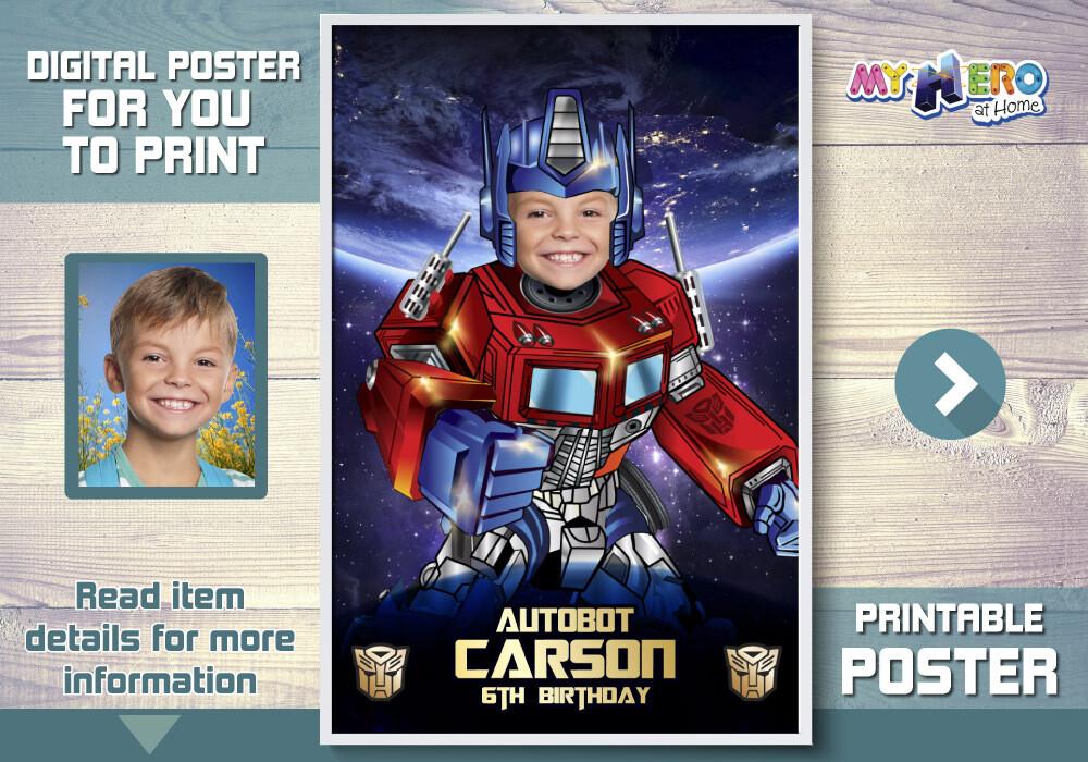 Optimus Prime Poster, Optimus Prime Decor, Optimus Prime backdrop, Optimus Prime party Decor, Optimus Prime theme. 484