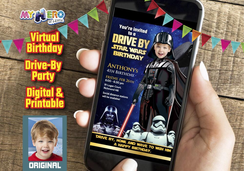 Darth Vader Drive By Birthday Invitation, Darth Vader Drive By Party, Darth Vader Digital, Star Wars Drive By. 009DB