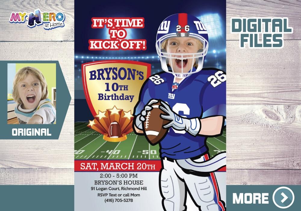 The New York Giants Birthday Invitation. The New York Giants Party. American Football Birthday. Football Digital Invitation.