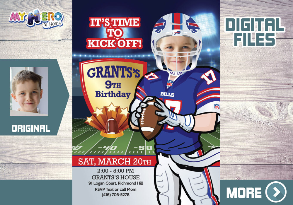 The Buffalo Bills Birthday Invitation. The Buffalo Bills Party. American Football theme party. Buffalo Bills Digital Invitation. 532