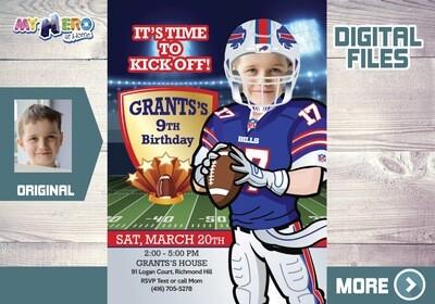 The Buffalo Bills Birthday Invitation. The Buffalo Bills Party. American Football theme party. Buffalo Bills Digital Invitation. 532
