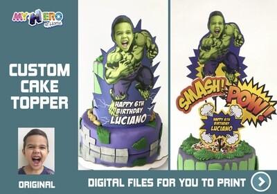 Hulk Cake topper, Hulk edible cake topper, Hulk cake decoration, Avengers cake topper, the hulk personalized cake topper, Hulk Party decor, Hulk DIY Party. 533
