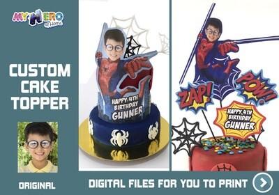 Spider-Man Cake topper, Spider-Man edible cake topper, Spider-Man cake decoration, Avengers cake topper, Spider-Man DIY Party. 534