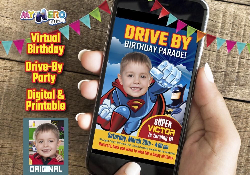 Superman Digital Birthday Invitation, Superman Birthday Parade, Superman Drive-By Party, Superman Driveway Party, Superhero Drive-By. 124DB